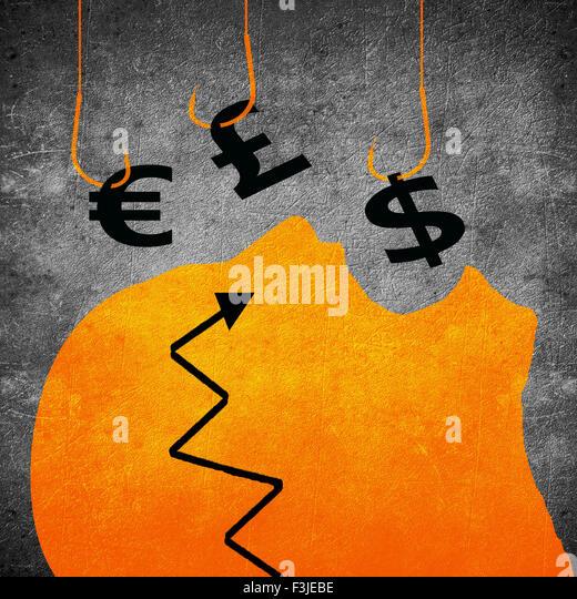 fishing hook and money symbol business concept digital illustration - Stock-Bilder