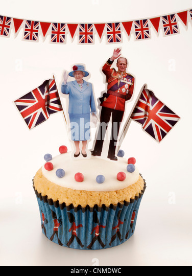ROYAL BRITISH CELEBRATION CUPCAKE - Stock-Bilder