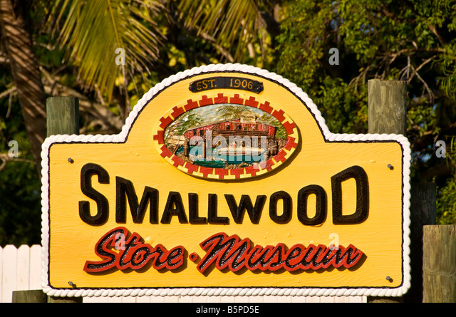 florida heritage trail Historic Smallwood Store sign old trading post Chokoloskee fl Everglades National Park - Stock Image