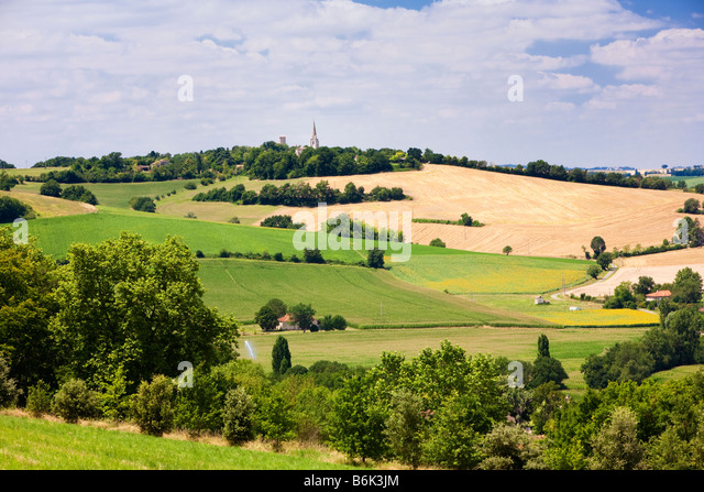 The farmland landscape of Gers in Gascony Southwest France Europe - Stock Image