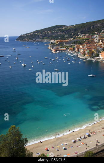 South France Cote d Azur Villefranche sur mer beach - Stock Image