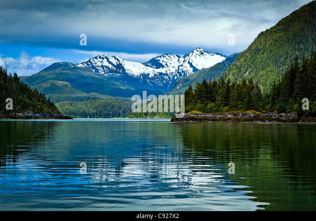 Landscape of Scenery Cove, Thomas Bay, Petersburg, Southeast Alaska, Summer - Stock Image