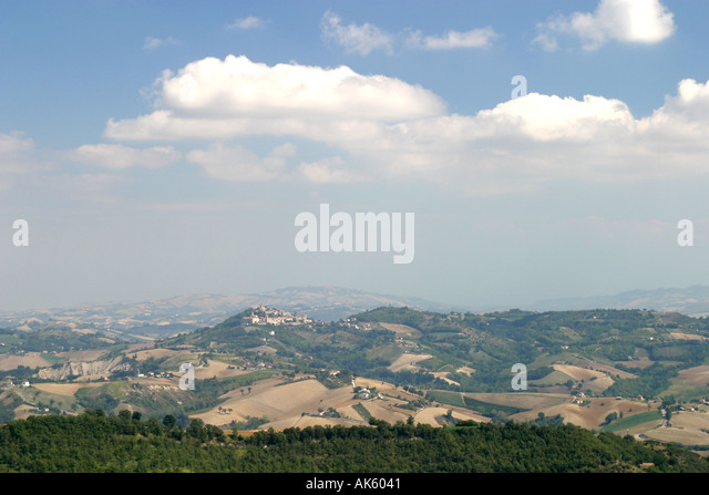 View of  Sarnano a hill town in Le Marches Italy - Stock Image
