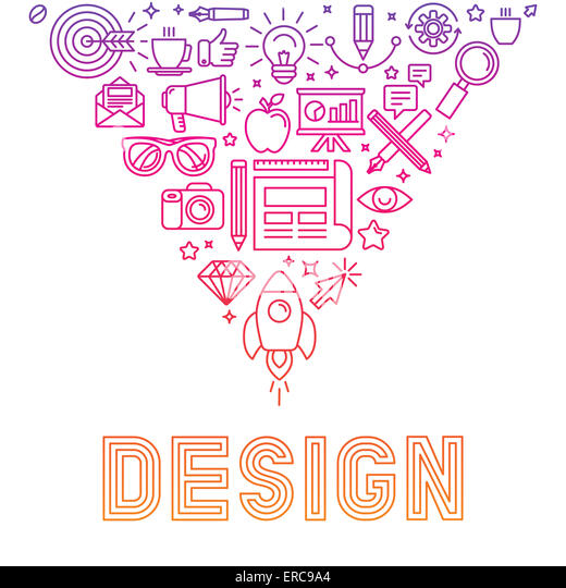 Linear logo design concept - illustration with icons and signs related to graphic design and creative process - Stock-Bilder