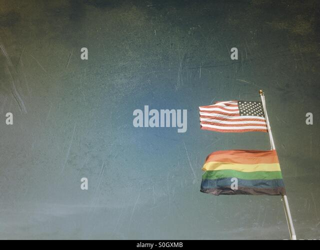 Gay pride and U.S. Flag, Provincetown MA - Stock Image
