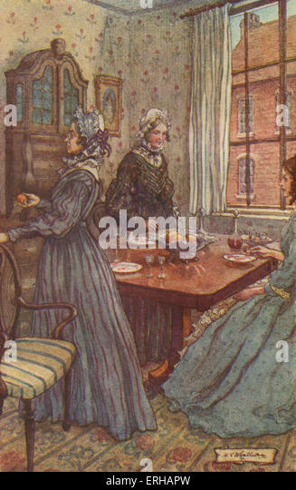 Cranford by Elizabeth Gaskell. Illustrations by M V Wheelhouse (1895-1933). Caption reads:  Miss Jenkyns and Miss - Stock Image