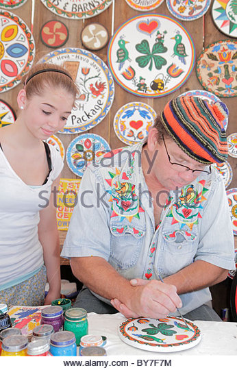 Pennsylvania Kutztown Kutztown Folk Festival Pennsylvania Dutch folklife art arts and crafts painting Hex signs - Stock Image
