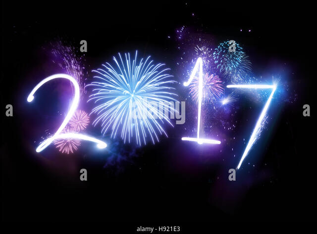 Happy New Year Fireworks with the year 2017  lit up with fireworks and lights. - Stock Image