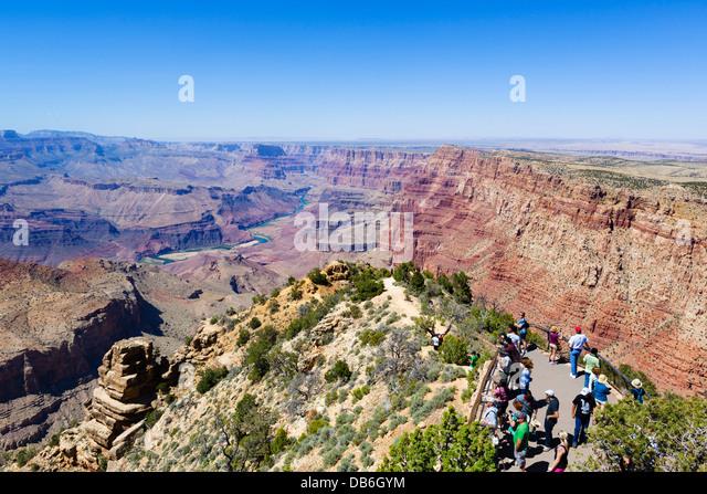 Tourists at Desert View Watchtower Lookout, South Rim, Grand Canyon National Park, Arizona, USA - Stock Image