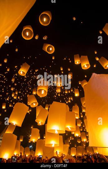 Chiang Mai, Thailand - Sky lanterns at Yi Peng Festival - Stock Image