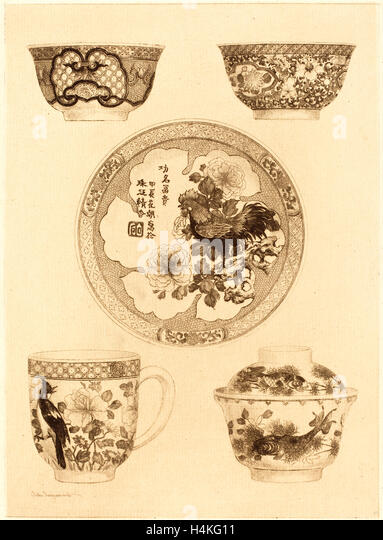Jules-Ferdinand Jacquemart, French (1837-1880), Five Pieces of China, etching - Stock-Bilder