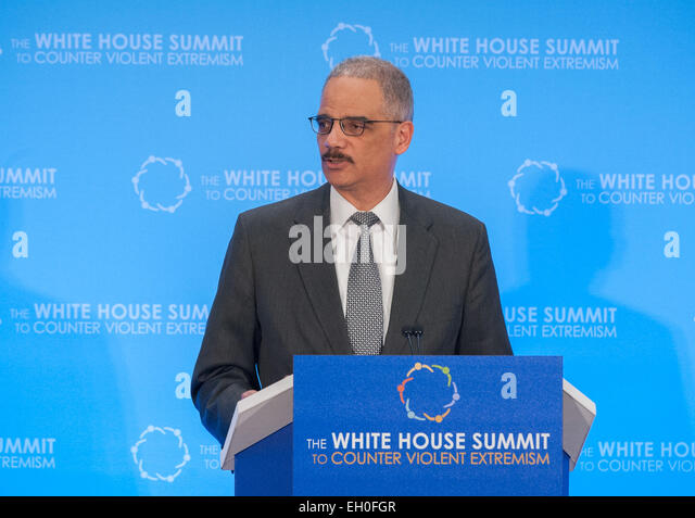 U.S. Attorney General Eric Holder delivers remarks during the  the White House Summit to Counter Violent Extremism, - Stock Image
