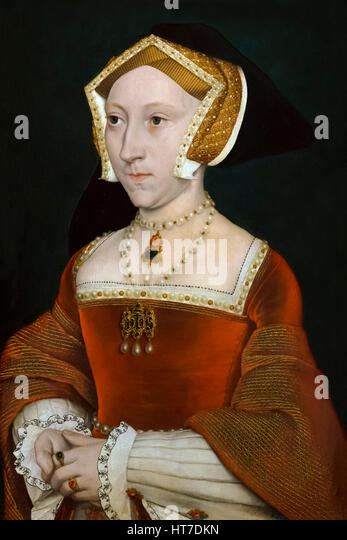Portrait of Jane Seymour, by Hans Holbein the Younger, circa 1540, Royal Art Gallery, Mauritshuis Museum, The Hague, - Stock Image