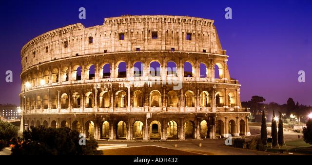 Rome Colloseum at dawn panorama  - Stock Image