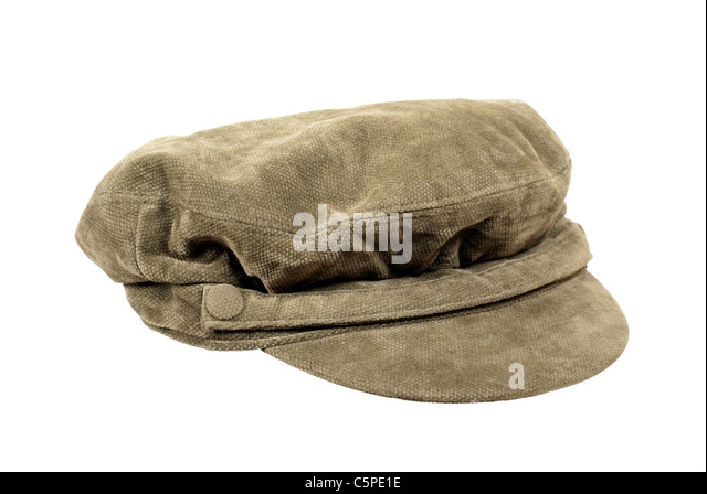 Fisherman cap with band across the bow attached with buttons - path included - Stock Image