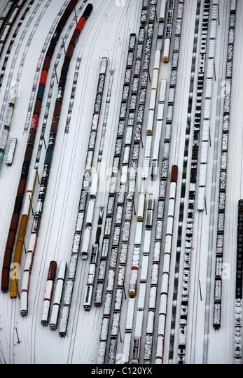 Aerial view, railway yard, freight trains, snow, Hamborn Meiderich, Duisburg, Ruhr, North Rhine-Westphalia, Germany, - Stock Image
