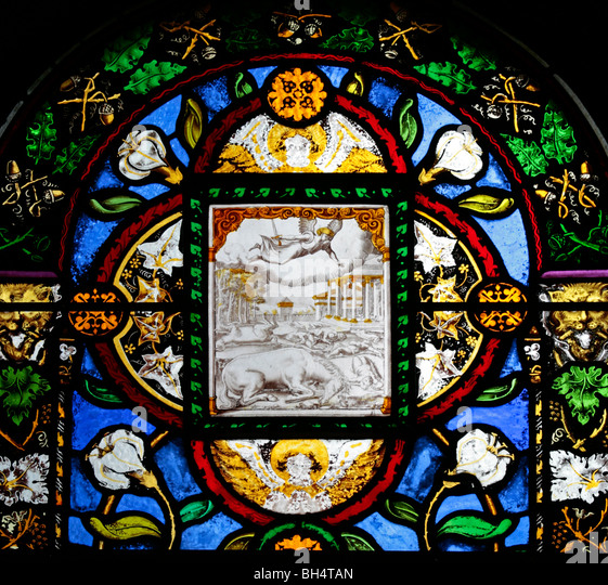 A 16th century Italian stained glass window depicting The Destruction of the First Born, All Saint's Church, - Stock Image