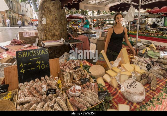 Market Place Richelme, Deli Food, Sausages,  Aix en Provence, Bouche du Rhone, France - Stock Image