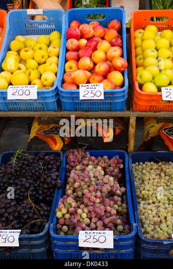 Fresh Cypriot fruit for sale at Larnaca Municipal Market, Larnaca, Cyprus. - Stock Image