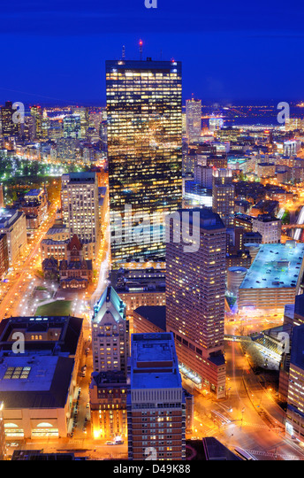 Aerial view of downtown Boston, Massachusettes, USA. - Stock Image