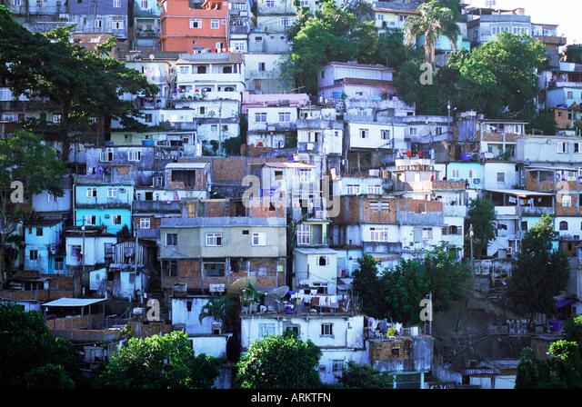 Hillside favela, Rio de Janeiro, Brazil, South America - Stock Image