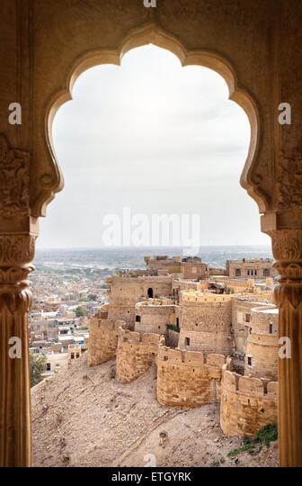 City and fort view from the window in City Palace museum of Jaisalmer, Rajasthan, India - Stock Image