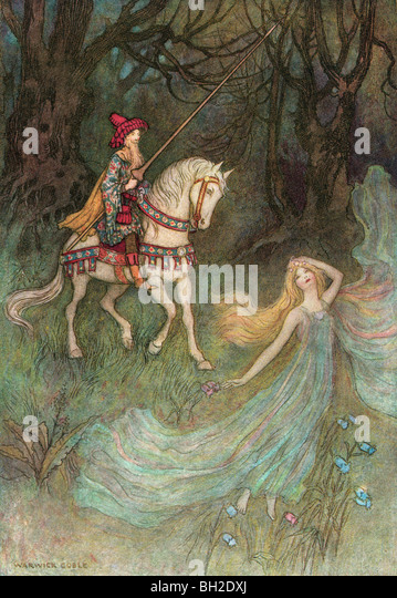 'An elf queen will I verily love', by Warwick Goble, from The Complete Poetical Works of Geoffrey Chaucer, - Stock Image