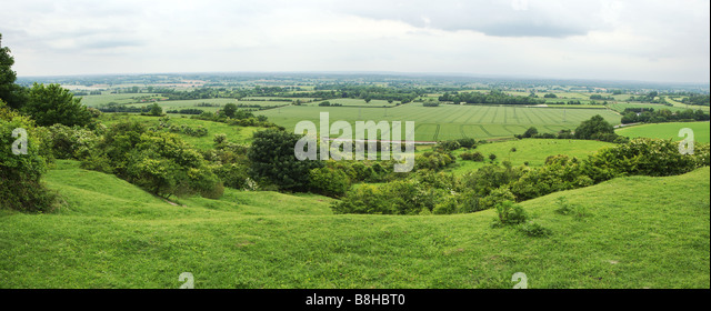 Panoramic of the South downs, East Sussex. - Stock Image