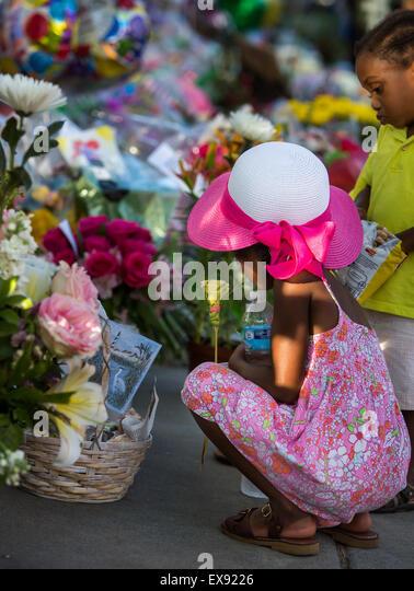 Memorial in front of Emanuel AME Church in Charleston, SC. - Stock Image