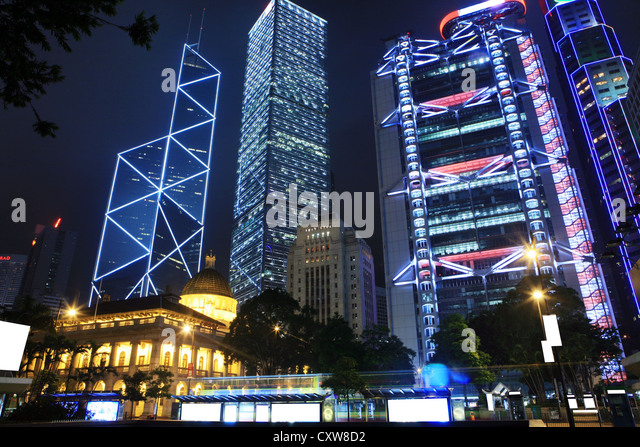 bank of china at night in Hong Kong - Stock Image