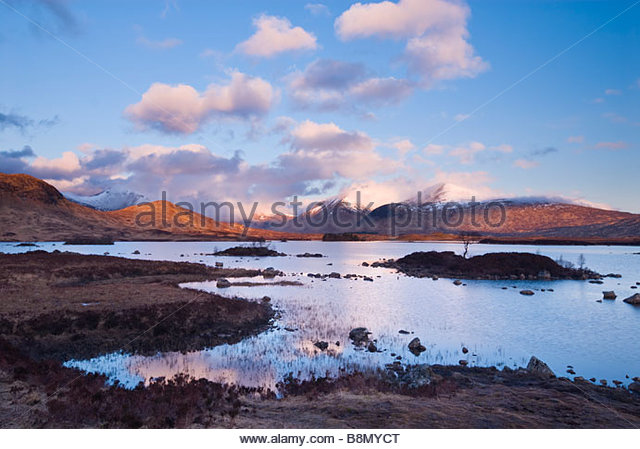 Clearing storm over Lochan na h'Achlaise and the Black Mount, Rannoch Moor, Scottish Highlands, UK. - Stock-Bilder