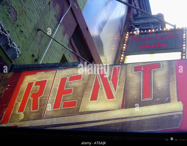 Sign for Broadway Musical Rent Outside of Nederlander Theatre in New York City USA Rent Will End Its Run on June - Stock Image