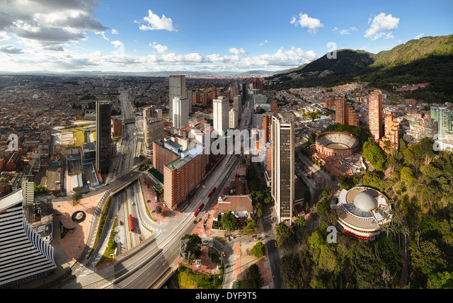Panoramic view of Bogota, the capital of Colombia. Aerial view of the Avenida Carrera Septima and bullring. - Stock Image