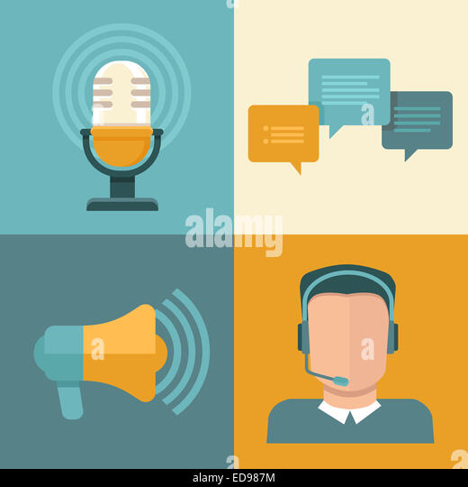 Podcast concept in flat style - microphone and audio icons and signs - Stock-Bilder
