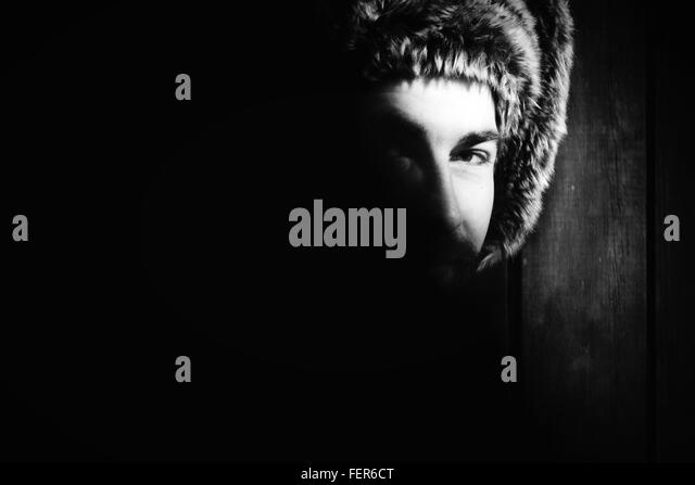 Portrait Of Man With Fur Capon Head - Stock-Bilder