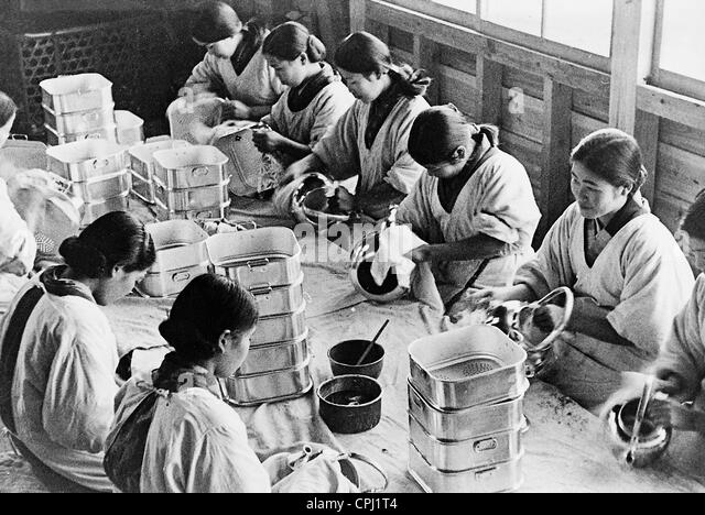 Japanese industrial workers, 1935 - Stock-Bilder