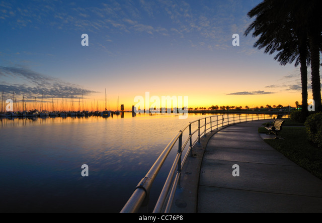 wharf at sunrise in St. Petersburg, Florida - Stock Image