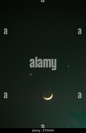 Planets and moon conjunction of jupiter and venus with crescent moon ; Bombay Mumbai ; Maharashtra ; India 1 December - Stock Image