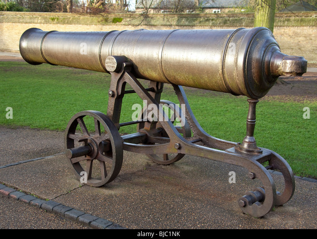 The cannon on Palace Green in Ely in Cambridgeshire in southeast England - Stock Image