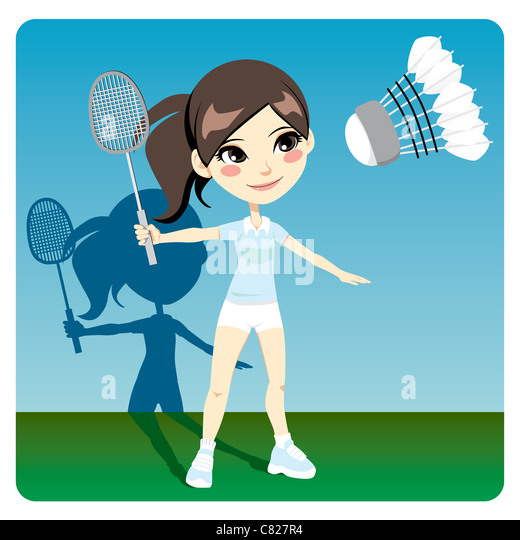 Young brunette woman playing professional badminton indoors - Stock Image