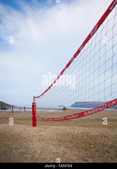 Polzeath Beach Volleyball Net - Stock Image