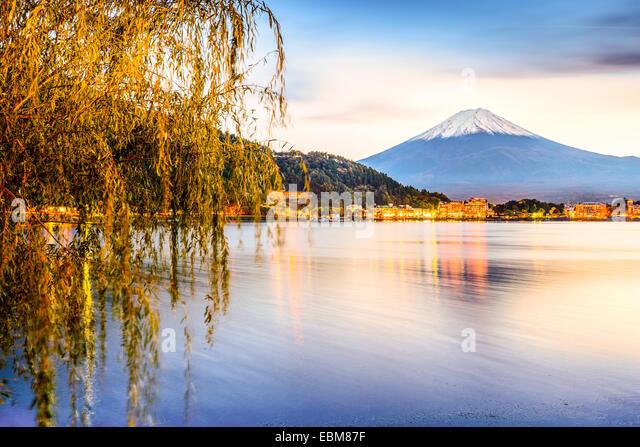 Mt. Fuji at Kawaguchi Lake in Japan. - Stock Image