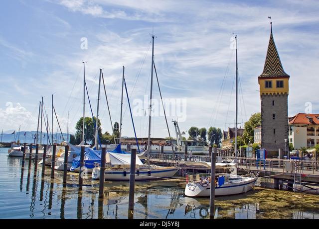 Lindauer port with Mangturm - Stock-Bilder
