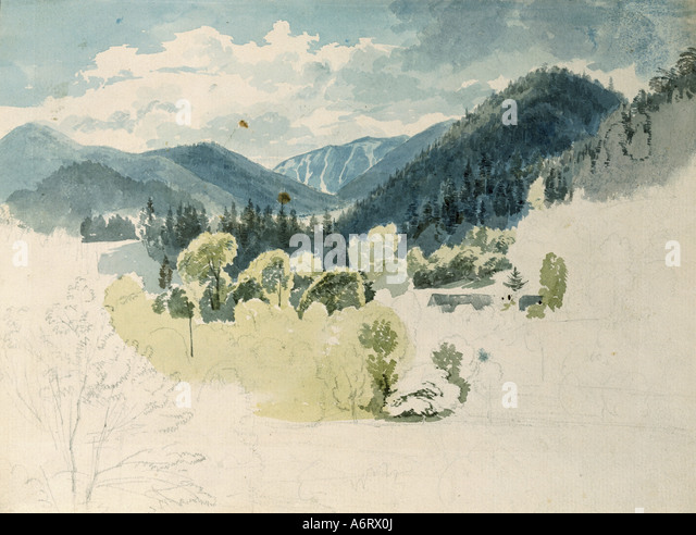 fine arts, Höger, Joseph (1801 - 1877), view at a Bavarian alpine valley in spring, watercolour, 1830, 18,5,x23,5 - Stock Image