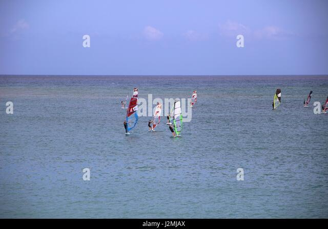 People learning to wind surf in Costa Teguise, Lanzarote, Canary Islands - Stock Image
