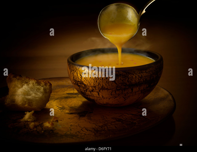 Butternut squash and chili soup - Stock Image