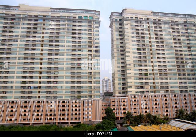 Bangkok Thailand Ratchathewi high rise condominium building residential - Stock Image