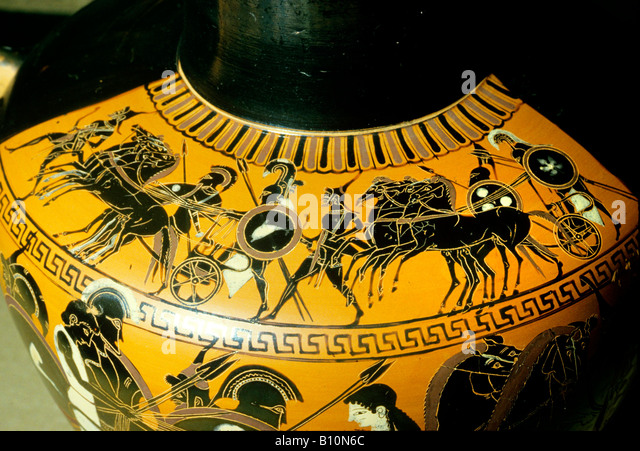 War chariot and hoplites Greek black figure vase painting Greece  Copyright: Ancient Art Architecture Collection - Stock Image
