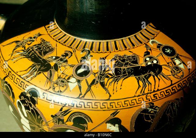 War chariot and hoplites Greek black figure vase painting Greece  Copyright: Ancient Art Architecture Collection - Stock-Bilder