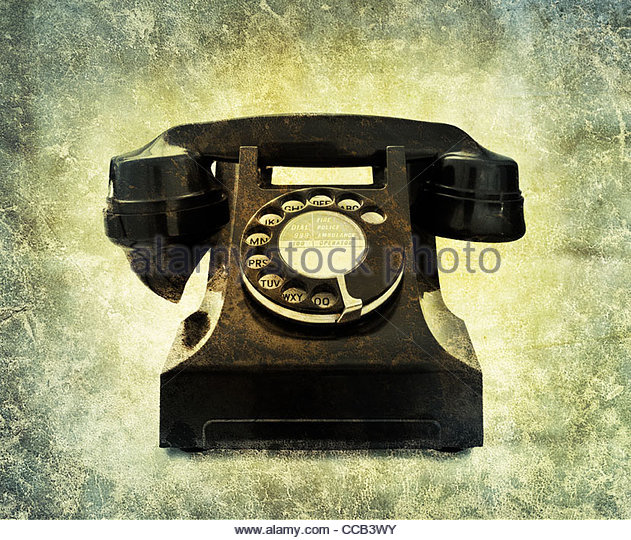 vintage black phone - Stock Image